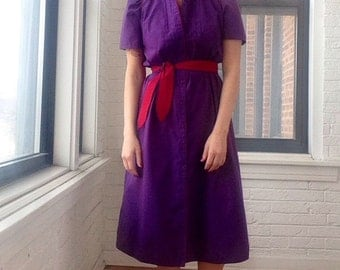 1980s Purple Belted Shirt Dress