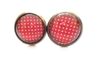 Earrings Polka Dots red