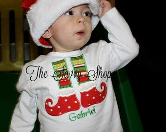 Elf Feet Christmas Shirt - Elf feet kids Christmas Shirt - Kids Christmas Shirt