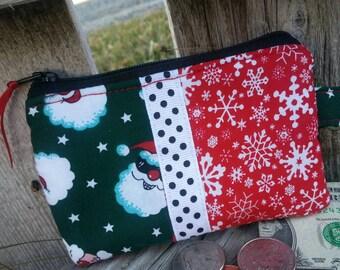 Christmas Coin Purse, Santa Zipper Wallet