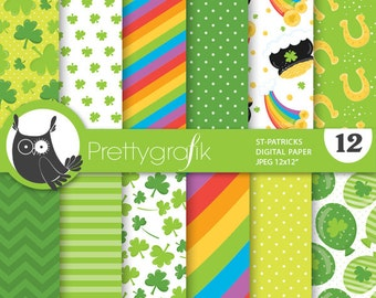 St-patrick's paper digital papers, commercial use, scrapbook papers, background - PS698