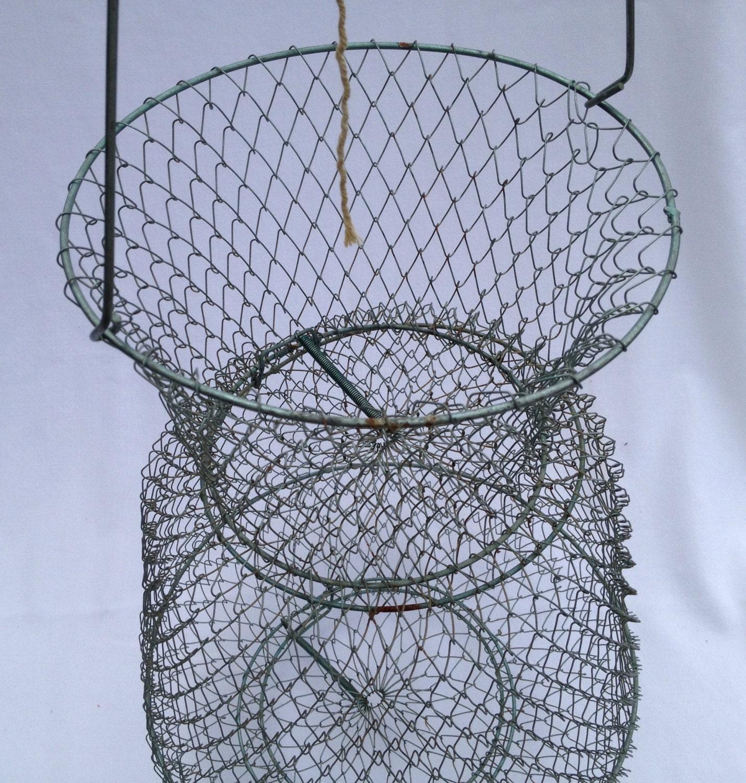 Vintage large fish basket fishing basket wire basket for Fish wire basket