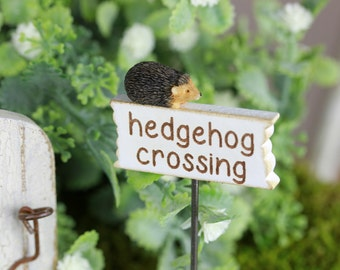 Fairy Garden Sign accessories - hedgehog crossing miniature for terrarium accessory