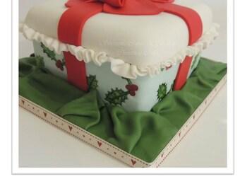 Christmas Holly Leaf Fruit Cake