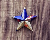 Upcycled Red Bull Energy Drink Can Star Ornament