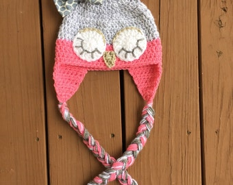 Crochet Owl Hat, Sleepy Owl Hat, Baby Girl Owl Hat, Girl Owl Hat, Owl Hat, Crochet Baby Girl Hat, Crochet Baby Hat, Owl Photo Prop