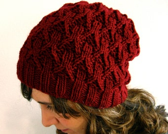 Hand Knit Wool Hat (Red Wine)