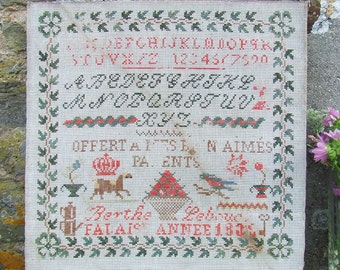 ANTIQUE FRENCH SAMPLER Cross Stitch 1830s Falaise Original Two Alphabets and Pictures