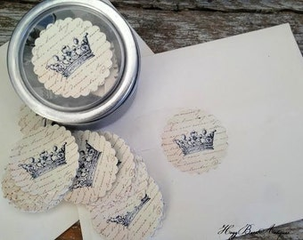 Crown Envelope Label Seals Sticker Vintage French Crown Stationery Holiday Shabby Chic   Gift Custom