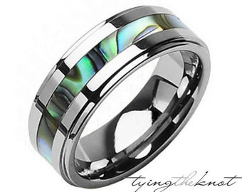 Mens/ Womens Tungsten and Abalone Stripe Inlaid Wedding Band Ring - Size 7 - 15