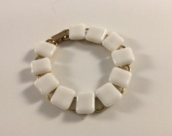 White squares fused glass bracelet