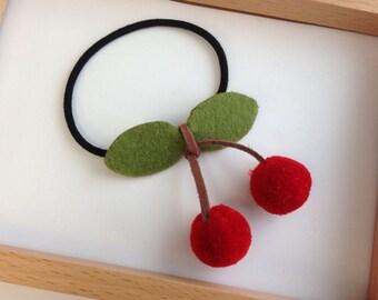 Girl Ponytail Holder - Cherry hairtie ponytail holder