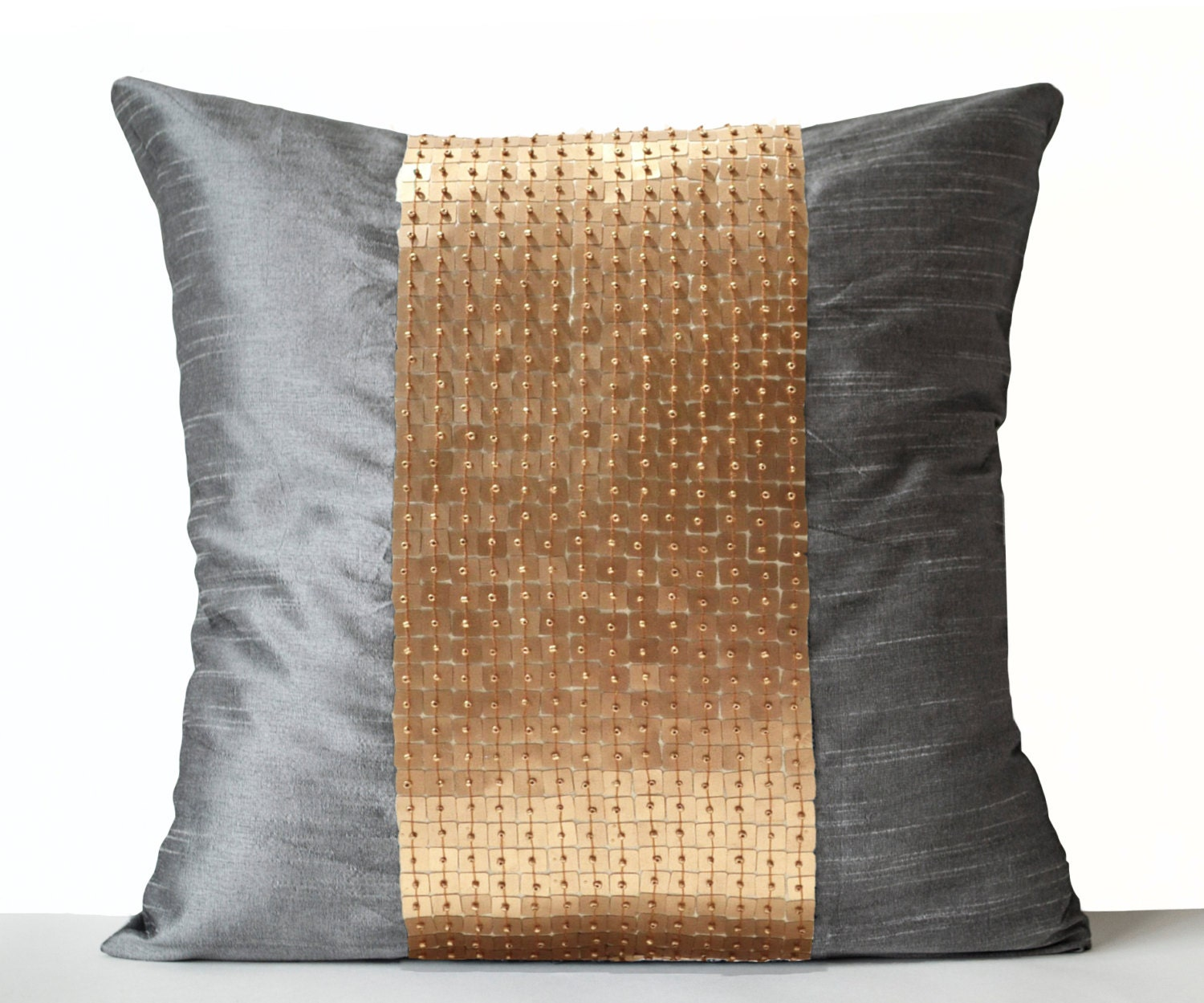 Decorative Pillow Covers Grey Gold Color Block Silk Throw