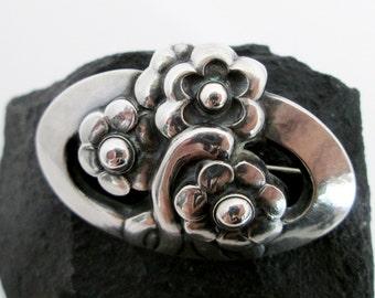 Jensen Silver Pin, No.28, Hallmarked 1933, Danish Sterling Pins, Art Nouveau Jensen, Authentic Jensen Pin, Copenhagen Silver, Floral Jensen