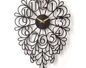 "16 x 24"" Darling Wall Clock, Large. Laser cut, Modern, Art Nouveau, Unique, Boho, Wood, Wall Art, Decor."