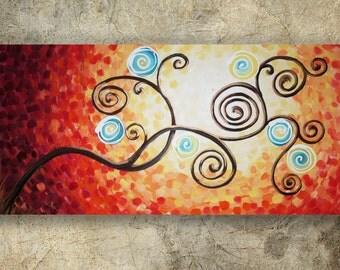 weddings gift painting TREE of LIFE art sunrise contemporary artwork tree art acrylic on canvas by Ksavera