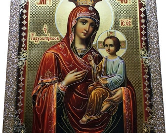 Virgin Mary - Orthodox Byzantine icon - Gilded Silver Plated Icon on wood (30 cm x 22.2 cm)