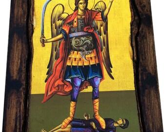 Archangel Michael - Orthodox Byzantine icon on wood handmade (22.5 cm x 17 cm)