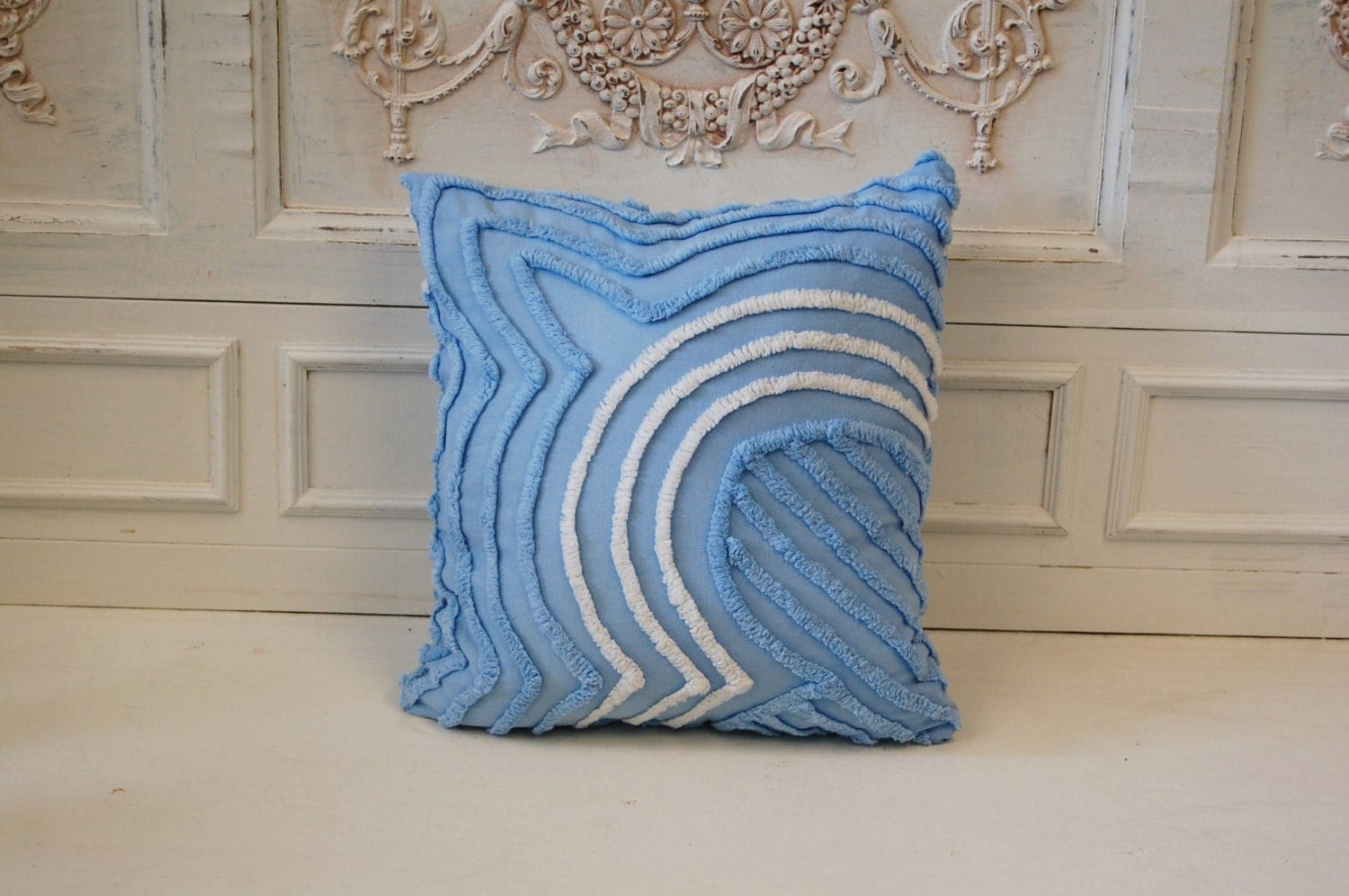 Upcycled Chenille Throw Pillow Blue / White Ribbed Waves