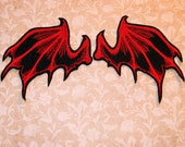 Red Bat Dragon Wings Iron On Embroidery Patch MTCoffinz - Pair - Choose Size