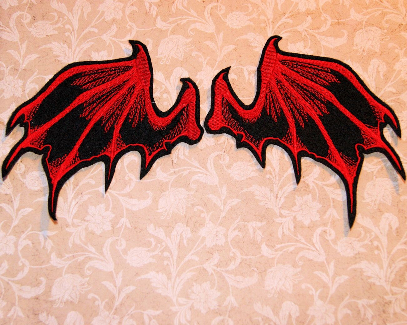 Red Bat Dragon Wings Iron On Embroidery Patch MTCoffinz Pair - photo#13