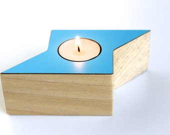 Tea Light Holder | BOLT in solid Poplar Wood with Caribbean Blue color accent