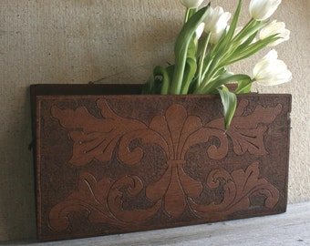 Antique Vintage Victorian Hand Carved Wooden Hinged Wall Pocket - Cottage Chic, Shabby Chic