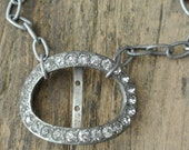 Upcycled Rhinestone Belt Buckle Necklace, Repurposed, Vintage, Antique Silver, One of a Kind By UPcycled Works