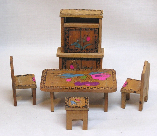 Dollhouse Furniture Dining Room Set Wood Table Chairs Bench