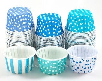 BLUE AQUA TURQUOISE Polka Dots/ Stripes Candy Nut Portion Cups- Greaseproof Cupcake/Muffin Baking Cups (24 Count)