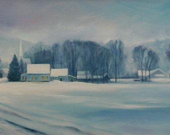 Road to Felchville, Vermont, landscape oil painting