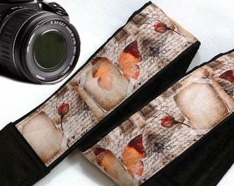 Postmarks Camera Strap. Vintage Camera Strap. Vintage Text Camera Strap. Butterflies Camera Strap