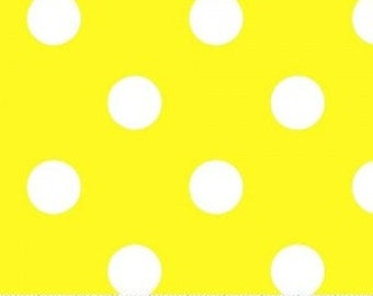 Yellow Polka Dot Fabric --- 100 Percent Cotton --- Fabric By The Yard