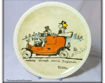 "Vintage Newell Pottery Collectors Plate-Norman Rockwell-""Walking Through Merrie England"""
