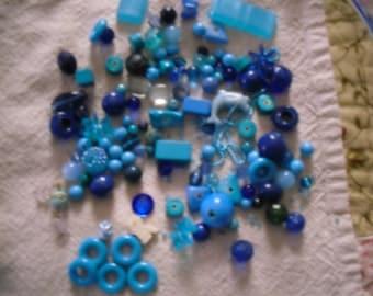 Vintage Blue Beads Destash - 120+ pieces