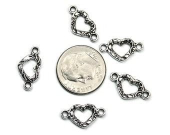 20 Antique Silver Open Heart Connectors