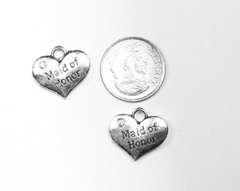 Antique Silver Rhinestone Maid of Honor Heart Charms 6 QTY