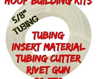 "Hoop Building Kit 50 ft roll of 5/8"" HDPE hula hoop tubing - Comes with Tubing Cutter and Rivet Gun"