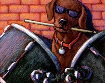 Chocolate Labrador Retriever Art Print of Lab Playing the Drums