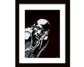 9 x 12 Michael Jordan Screenprint on Canvas Board (Black)