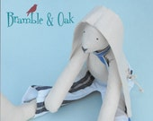 Traditional Thomas Toy Boy Bunny Rabbit  Textile Doll Ooak / Hare Softie with Blue and White Striped Ticking Trousers and Tie Etsy Uk Seller