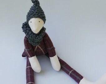 Quirky Cloth  Doll Boy Minimalist Soft Sculpture Tartan Folk Doll /  Plum Wool Tartan Grey Wool Beanie British Seller Bramble and Oak