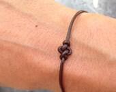 Bracelet Infinity 01 Silver Leather Handmade - Eternity - Brown (B201SV-LBN)