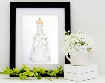 Custom Wedding Dress Sketch/Illustration (wedding,anniversary or bridal shower gift)