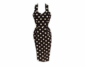 Polkadot Wiggle Pencil DRESS 1950s 1940s Vintage Retro Penny Spot Made to measure in lots of colours rockabilly pinup
