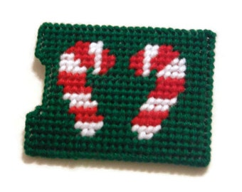 Needlepoint Gift Card Holder // Candy Cane on Gift Card Holder // Kids Gift Card Holder // Plastic Canvas Christmas Gift // Stocking Stuffer