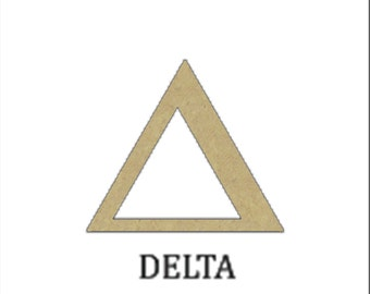 """Unfinished Wooden Greek Letter """"Delta"""" For Sororities or Fraternities"""