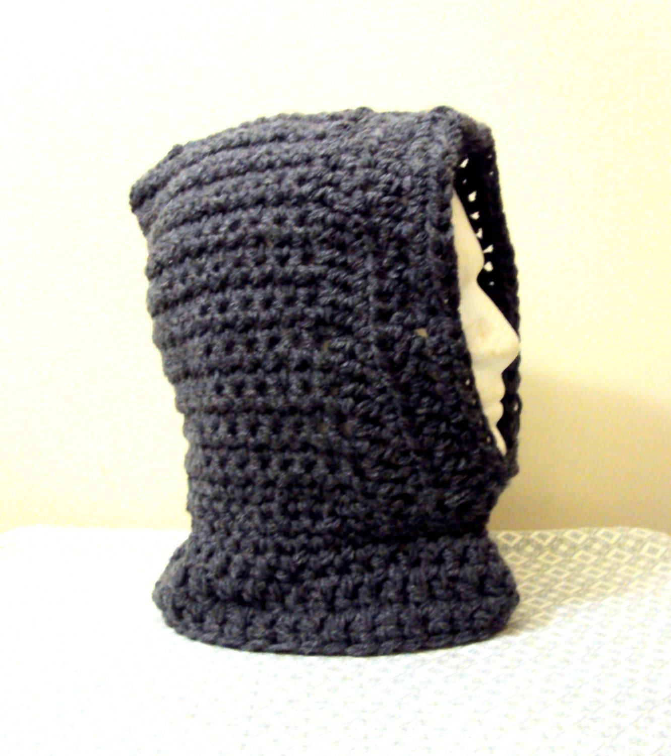 Crochet Pattern Hooded Scarf With Ears : Hooded Cowl Scarf Crochet Hoodie Scoodie Charcoal Grey