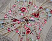 Hand embroidered spanish silk flamenco wedding piano shawl, mantones