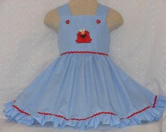 Elmo Dress, Elmo Birthday Dress, Sesame Street Elmo Dress, Custom Boutique Pageant dress, Unique, Handmade Elmo Dress,Princess Elmo Dress,